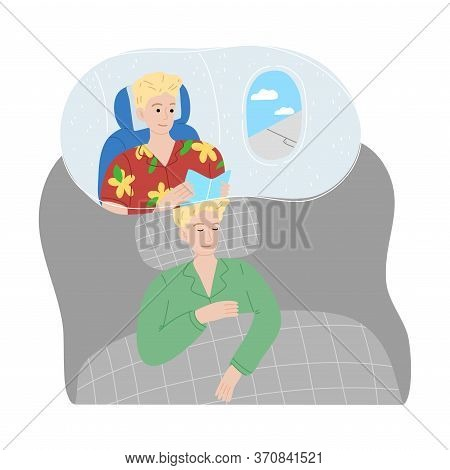 Boy Slepping And Seing Himself Traveling By Plane In Night Dream