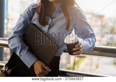 Beautiful Woman Hold Cup Of Coffee In The Morning.
