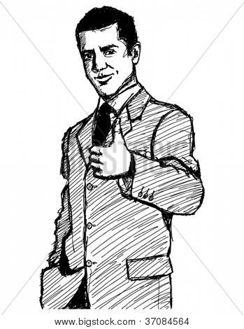 Vector Sketch, comics style business man shows well done against different backgrounds