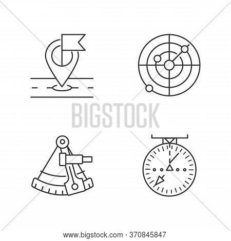 Navigation Pixel Perfect Linear Icons Set. Customizable Thin Line Contour Symbols. Gps Location, Sex