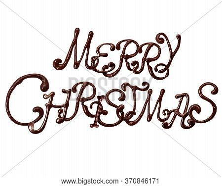 Inscription Merry Christmas Made Of Chocolate Elegant Font With Swirls, Isolated On White Background