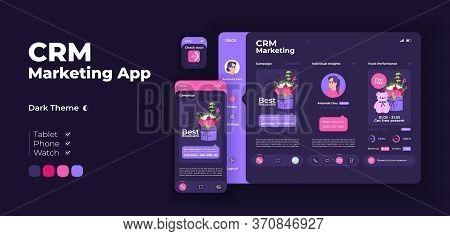 Online Marketing Service App Screen Vector Adaptive Design Template. Engagement Analysis. Crm Applic
