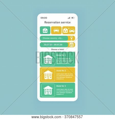 Reservation Service Smartphone Interface Vector Template. Mobile App Page White Theme Design Layout.