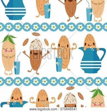Kawaii Almond Milk Vector Seamless Pattern Background. Cute Muscle Flexing And Juggling Nut Cartoons