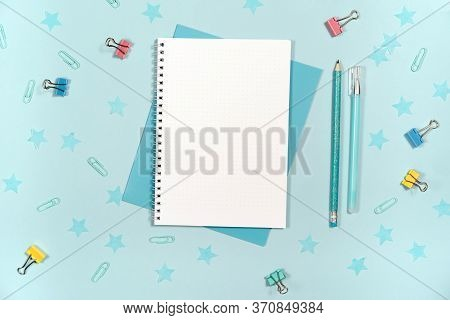 Flat Lay, Top View Office Table Desk With Stationery, Notebook, Keyboard, Pencils With Isolated Mock