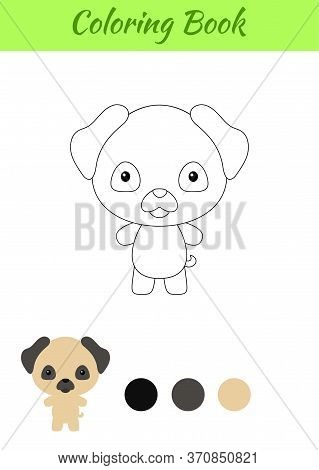 Coloring Page Happy Little Baby Pug Dog. Coloring Book For Kids. Educational Activity For Preschool