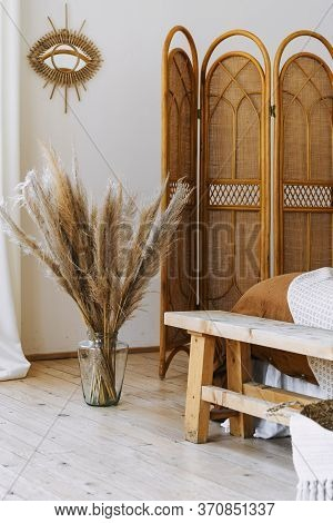 Vertical Photo Of Cozy Apartment In Boho Chic Style Interior With Comfort Bedroom, Bamboo Dressing S