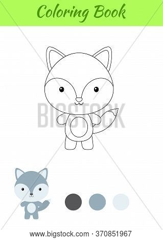 Coloring Page Happy Little Baby Wolf. Coloring Book For Kids. Educational Activity For Preschool Yea