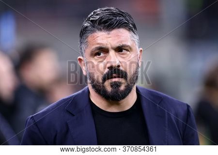 Milano. Italy. 12th February 2020. Coppa Italia Semi-final First Leg. Fc Internazionale And Ssc Napo