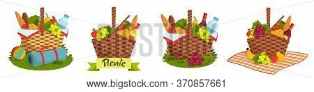 Set Of Wicker Picnic Basket Full Of Healthy Food. Bottle Of Wine And Water, Cheese, Baguette, Fruits