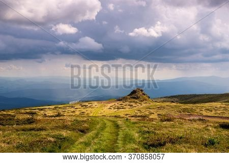 Green Valley Nature Landscape. Mountain Layers Landscape. Rain In Mountain Meadow Landscape. Meadows
