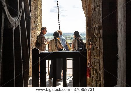 Mont-saint-michel, France - September 2, 2019: These Are Unidentified People In An Open Area Of A Fr