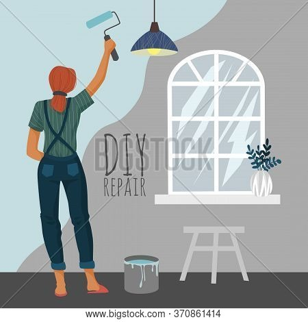 Diy Repair. Woman Painting A Wall With A Paint Roller In Room. Cute Vector Illustration.