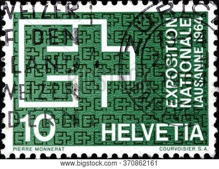 02.09.2020 Divnoe Stavropol Territory Russia The Postage Stamp Switzerland 1963 Expo Lausanne 1964 E