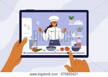 Culinary Video Broadcast, Channel Or Blog With Cooking Online Class. Young Chef Woman Preparing Heal