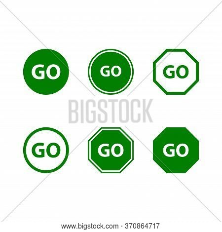 Go Icon Isolated On White Background, Go Vector Logo Template, Silhouette, Symbol