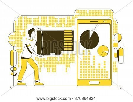 Memory Card Thin Line Concept Vector Illustration. User Holding Data Storage Device 2d Cartoon Chara