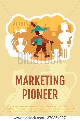 Marketing Pioneer Poster Flat Vector Template. History Of Money Making. Ancient Trader. Brochure, Bo