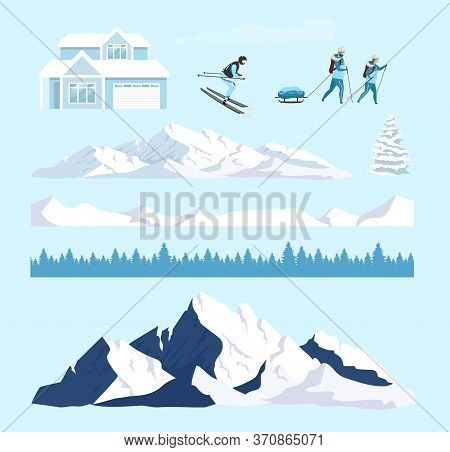 Winter Nature Cartoon Vector Objects Set. Ski Resort Snowy Mountains Constructor. Skier And Hills Fl