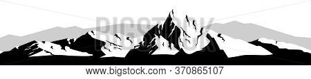Mountain Landscape Black Silhouette Seamless Border. Snowy Peak Monochrome Vector Illustration. Snow