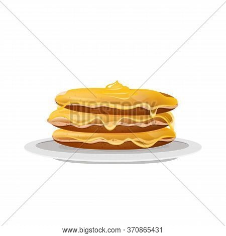 Pancakes With Honey, Dessert On White Plate Realistic Vector Illustration. Served American Breakfast