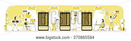 Enterprise Storage System Thin Line Concept Vector Illustration. Datacenter Administrators 2d Cartoo