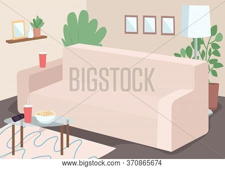 Couch For Family Leisure Flat Color Vector Illustration. Sofa In Livingroom. Coffetable With Plastic