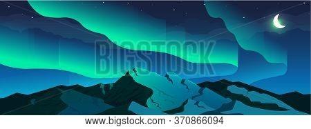 Aurora Borealis Phenomenon Flat Color Vector Illustration. Northern Lights In Sky And Snowy Mountain