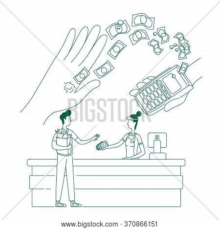 Microchip, Nfc Payment Device Thin Line Concept Vector Illustration. Cashless Shopping, People With