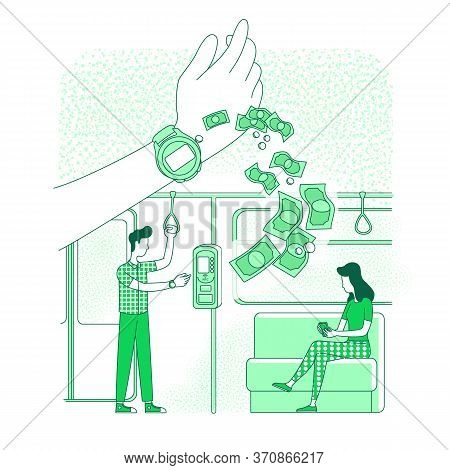 Wearable Device, Smart Clock Thin Line Concept Vector Illustration. Metro Passengers, People Buying