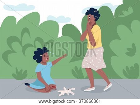 Mom With Little Daughter Flat Color Vector Illustration. Panicking Mother And Crying Child 2d Cartoo