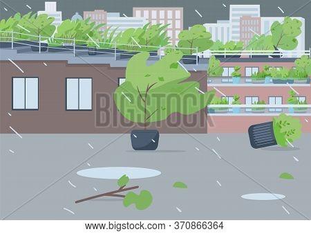 Rainstorm Flat Color Vector Illustration. Empty City Street 2d Cartoon Landscape With Cityscape On B