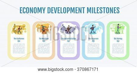 Economy Development Milestones Flat Color Vector Informational Infographic Template. Poster, Booklet