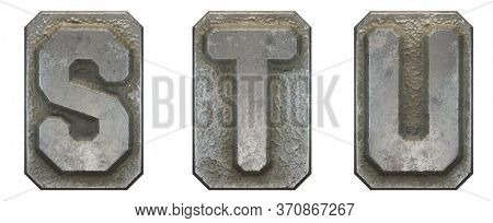 Set of capital letters S, T, U made of industrial metal isolated on white background. 3d rendering