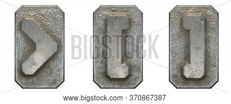 Set of symbols right angle bracket, left and right square bracket made of industrial metal on white background 3d rendering