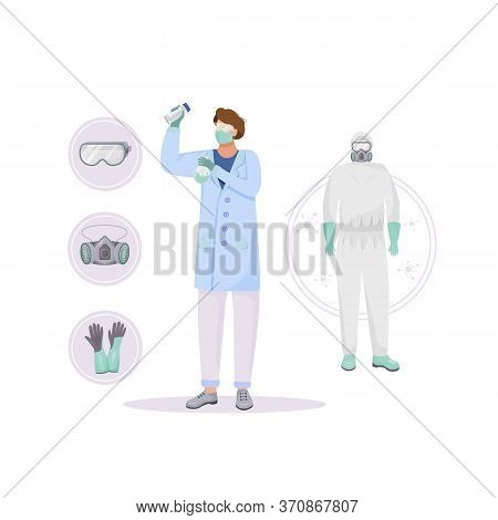 Protective Clothing Flat Concept Vector Illustration. Radiation Protection. Chemist 2d Cartoon Chara