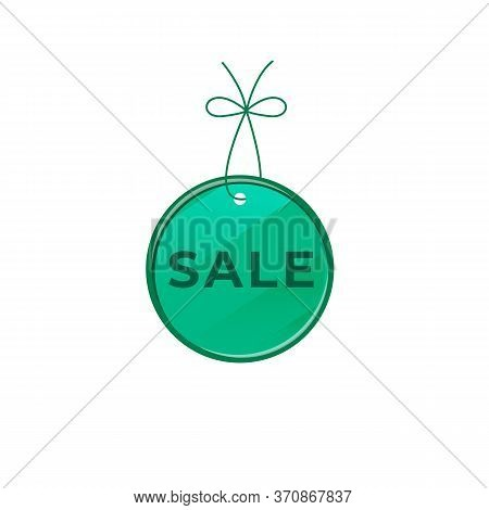Sale Green Vector Board Sign Illustration. Shop Signboard Design With Typography. Round Promo Tag Is