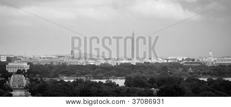 Washington DC city view in a cloudy summer day, including Lincoln Memorial, Monument, US Capitol building and Potomac River - Black and white