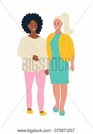 Hand Drawn Flat Style Vector Illustration. Black African Pregnant Woman Is Walking With Her White Ca