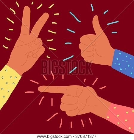 Vector Flat Style Pointing, Victory And Thumbs Up Fingers Hand Gesture. Afro American Dark Skin Colo