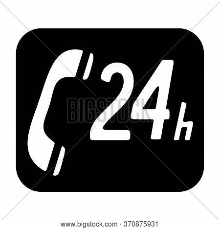 Call Center Icon In Line Style. 24/7 Phone Support Icon. 24 Hours Open Call Service. Non-stop Custom