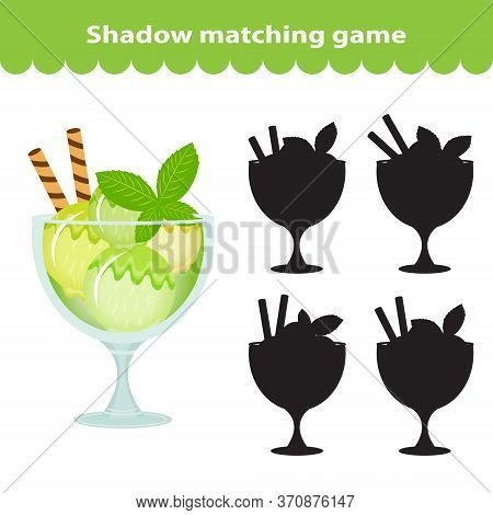 Childrens Educational Game, Find Correct Shadow Silhouette. Sweets, Ice Cream, Set The Game To Find