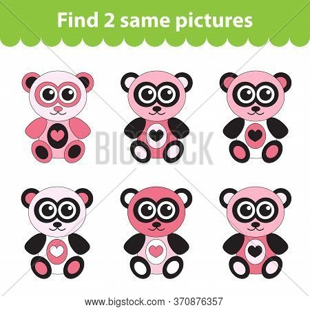 Childrens Educational Game. Find Two Same Pictures. Set Of Teddy Bear For The Game Find Two Same Pic