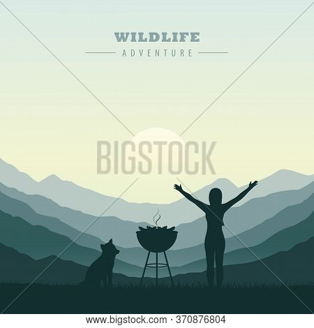 Bbq In The Mountains Adventure In The Wilderness Vector Illustration Eps10
