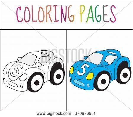 Coloring Book Page. Toy Car. Sketch And Color Version. Coloring For Kids. Illustration