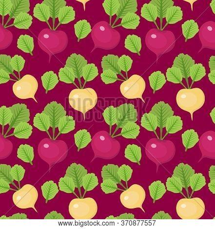 Radish Seamless Pattern. Red And White Radishes Endless Background, Texture. Vegetable Background. I