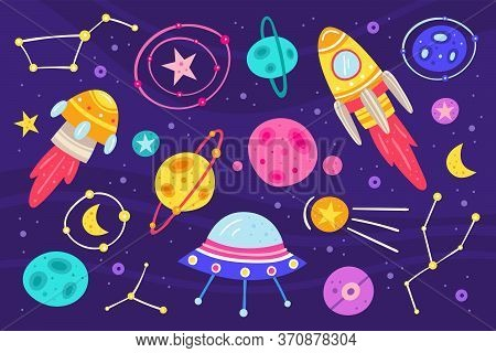Big Space Vector Flat Illustration, Set Of Elements, Stickers, Icons. Isolated On Background. Rocket