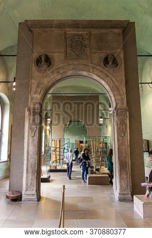 Milan, Italy, 29 September, 2015 : The Decorative Stone Arch - Exhibit At The Museum Of The Sforzesc