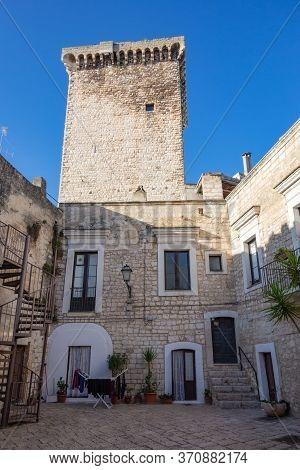 Perspective Of The Castle Of Rutigliano. Puglia. Italy.