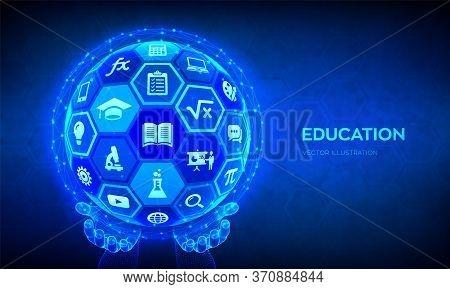 E-learning. Innovative Online Education Technology Concept. Webinar, Teaching, Online Training Cours